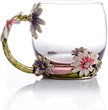 COAWG Flower Glass Tea Mug, 11oz Lead Free Handmade Pink Glass Cup with Handle, Unique Personalized Birthday Gift Ideas for Women Mom Grandma Teachers Hot Beverages (Short Pink)