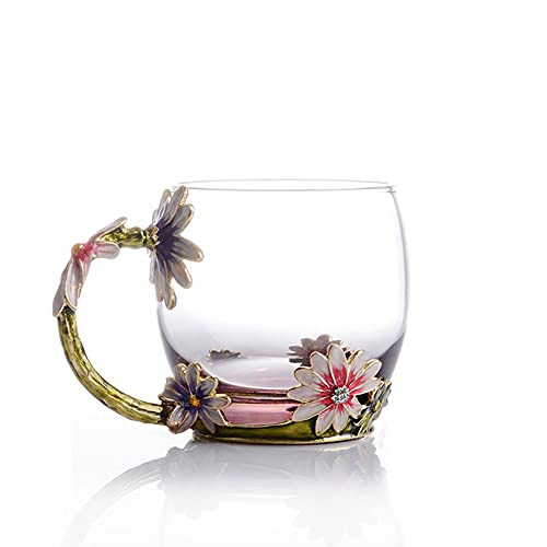 COAWG Flower Glass Tea Mug 11oz Lead Free Handmade Pink Cup With Handle
