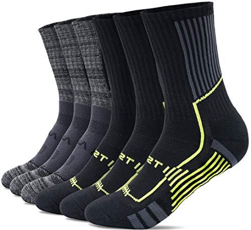 TSLA Men and Women Athletic Crew Socks, Cotton Blend Cushion Mid Calf Socks, Sport Performance Running Socks, Active Grip 6pairs(mzs63) - 3charcoal/ 3black&neon, Medium