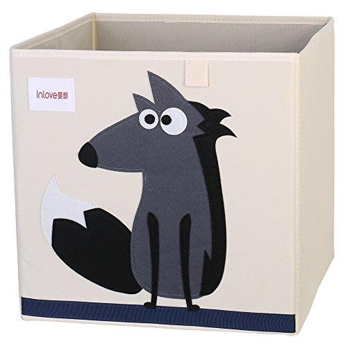 Cartoon Aufbewahrungswürfel Leinwand faltbare Spielzeug Aufbewahrungsbox für Kinder von ELLEMOI (Wolf)