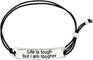 Life is Tough, But I Am Tougher' Inspirational Stretch Bracelet - One Size Fits All Motivational Bracelet with Engraved Plaque & Black Elastic