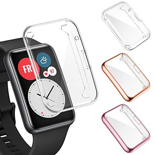 FITA 3 Piezas Funda Compatible Con Huawei Watch Fit Funda Protectora, Cubierta Completa Película Protectora de TPU Suave Funda Resistente A Los Arañazos Compatible Con Huawei Watch Fit Smartwatch