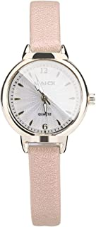 Fashion Embossed Sun Veins Dial Flat Glass Temperament Leather Belt Lady Watch Quartz Watches Small Watc (Beige)