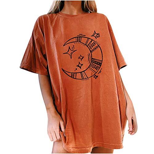 MAZHANG Damen Oberteile Sale espritspitzen Oberteile damenoberteile Damen große größen sexydamen blusenshirt rückenfrei Aufdruck Bluse Hemd Oversize dünn(Orange F 3XL)