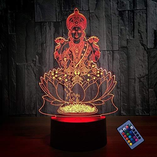 Creativo 3D Estatua de Buda Luz de Noche Control Remoto 16 Colores que Cambian Control Remoto USB Poder Switch Ilusión óptica Decor Lámpara LED Mesa Lámpara Niños Juguetes Cumpleaños Navidad Regalo