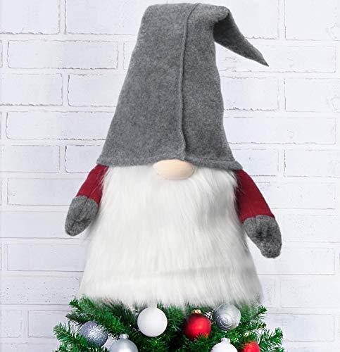 Weihnachten Baumspitze, 70cm Weihnachtsbaum Spitze,Plüsch Figur Wichtel Schwedisch Weihnachtsbaum Topper, Weihnachtsmann Zwerg Weihnachtsbaumspitze für Weihnachtsdeko(Grau)