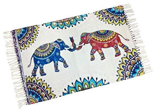 your castle Dekorativer Baumwoll Teppich für Wohnzimmer Schlafzimmer Kinderzimmer Motiv: Elefanten, 80 x 120cm