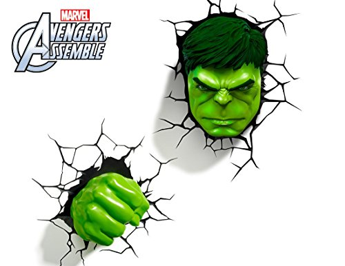 Marvel AVENGERS Incredible HULK FIST & HEAD 3D FX Deco Wall LED Night Light Set ^G#fbhre-h4 8rdsf-tg1324100