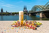 lfeey 7x 5ftカーニバルパーティービール祭写真背景旅行Cologne Landmark Rhine Cupola教会Birdge紙吹雪オクトーバーフェストBeerfest Backdrops for写真フォトスタジオ小道具