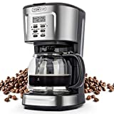 Kognita 12 Cup Coffee Maker, Programmable Small Coffee Maker with Glass Carafe and Filter, Dirp Coffee Maker Coffee Pot Machine, Keep Warm, Brew Strength Control, 900W Fast Brew Auto Shut Off, Stainless Steel