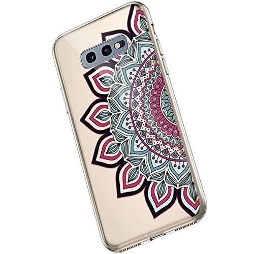 Saceebe Compatible avec Samsung Galaxy S10e Coque Fleur Mandala Clair Design Motif Silicone Transparent TPU Souple Housse de Protection Ultra Mince Slim Léger Antichoc Étui,Fleur Rouge
