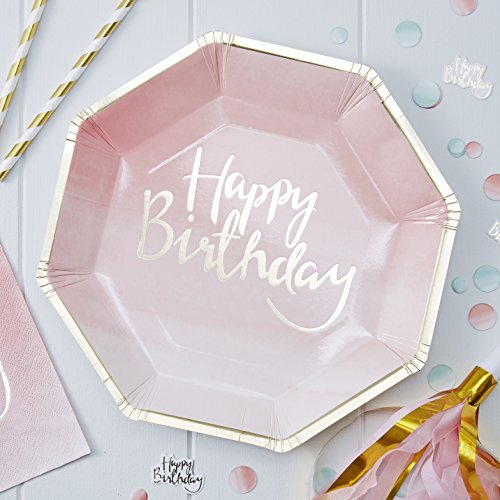 Ginger Ray PM-902 Pappteller mit Plektren und Mix, Pink Ombre Happy Birthday, 8 Stück, Gold, 25 cm,