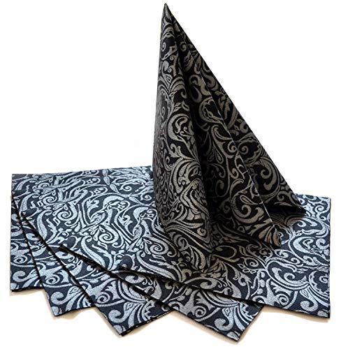 finemark 20 Stück Papierservietten Gemustert in SCHWARZ/Silber 40 x 40 cm (0,17€/Stück) Tissue Servietten 3- lagig Hochzeit Geburtstag Dinner Tischdekoration