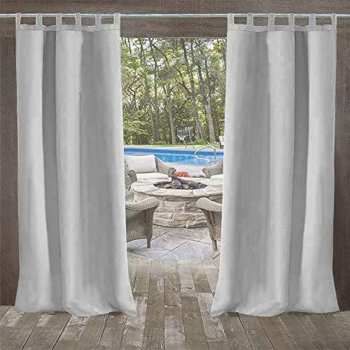 DOMDIL Outdoor vorhänge Gartenlauben Balkon-Vorhänge 132x215cm Verdunkelungsvorhänge mit Klettverschluss, Vorhang Wasserdicht Mehltau beständig, Pavillon Strandhaus, 1 Stück (1 Pack),weißgrau