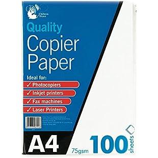 A4 Copier Paper 100 Sheets 75gsm PHOTOCOPY, LASER & INKJET PRINTER:Cnsrd