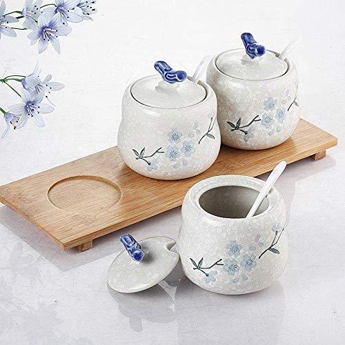 Vaso per condimento in ceramica con fiocco di neve in stile giapponese con coperchio, cucchiaio in tre pezzi, vaso per sale e zucchero, barattolo per spezie con tre fiocchi di neve per condimento