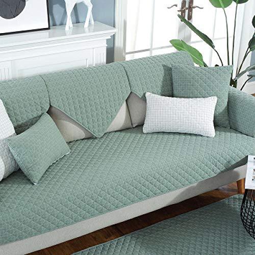 kinfuki Funda de sofá de Reversible Ligera y con Acolchado,Funda de Tela para sofá con 2 Fundas de Almohada, Verde 90 * 180 cm