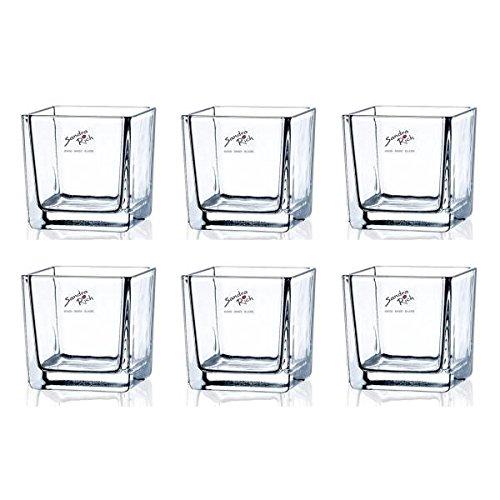 Sandra Rich 6er Set Teelichtgläser, Windlichter Cube H. 8cm 8x8cm Glas eckig