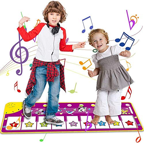 FCDAT Piano Music Dance Mat, Baby Musical Game Carpet Mat Musical Instrument Toy Touch Play Keyboard Play Mat for Toddlers, Best Educational Music Toys