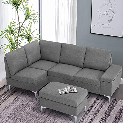 Esright Convertible Sectional Sofa Couch with Ottoman