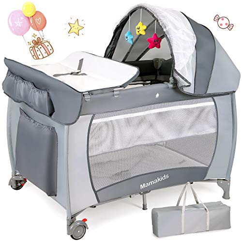 Hello-5ive 2-in-1 Travel Cot Toddler Bed, Portable Foldable Playpen with Changing Table Waterproof Mattress, Baby Crib with Toys, Brake Wheels, Travel Bag for Toddlers Boys&Girls