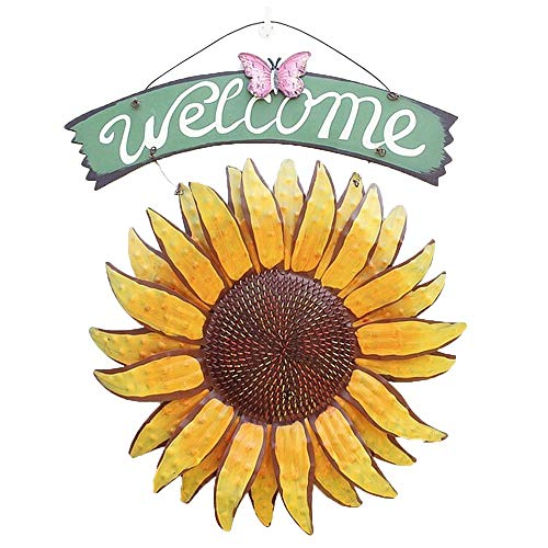 Easybuy, cartello di benvenuto da giardino in metallo, da appendere in giardino, decorazione per esterni con girasole, decorazione dipinta a mano, targa di benvenuto per porta d'ingresso