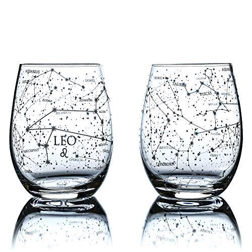 Greenline Goods Leo Stemless Wine Glasses | Zodiac Leo Set | Hand Etched 15 oz (Set of 2) - Astrology Sign Glassware