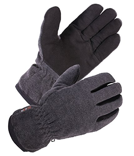 SKYDEER Winter Glove - Premium Genuine Soft Deerskin Suede Leather and Polar Fleece Glove, with 3M Thinsulate Insulation Suitable for Outdoor Sport and Keep Warm in Cold Weather (Unisex Gray Large)