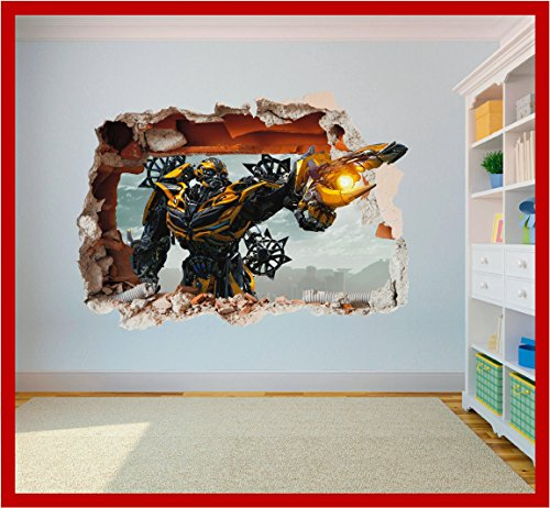 Transformers Bumblebee Hole in Wall - 3D Art Printed Vinyl Sticker Decal (Large 600 x 425mm)