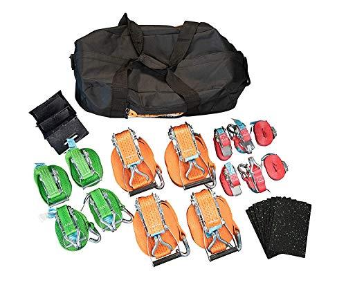 Dolezych Ladungssicherungsset Allround mit Zurrgurten/Kantenschutzwinkeln/Antirutschmatten, 26-teilig - verschiedene Farben