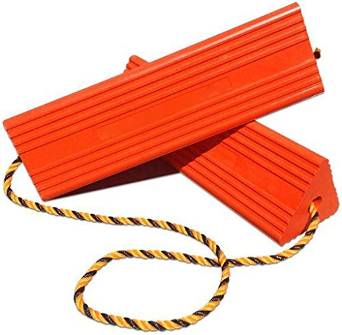 BUNKERWALL Industrial Rubber Wheel Chock Blocks with Rope - High Visibility Orange - 9.6' Wide x 5' High BW3433