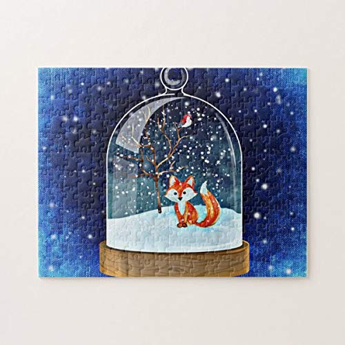 onepicebest Christmas Jigsaw Puzzles, Cute Fox Inside a Snow Globe Jigsaw Puzzle Game with Posters for Adults Teens Kids Large Puzzle Game Toys for Loves Family & Friends 26x38 cm