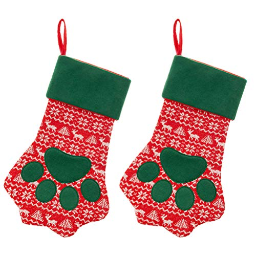 SCIROKKO 2 Pack Large Christmas Paw Stockings - Gifts Bags Holiday Accessories for Dog Cat - 18 inches
