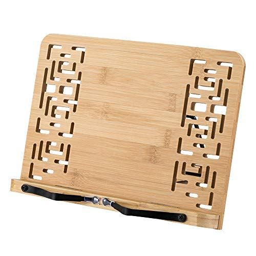 HALOViE Soporte de Libro para Lectura Atril Ajustable Plegable de Bambú Estantes Escritorio Portátil para Leer Papeles Documentos Archivos Notación Musical Tableta Ordenador iPad para lectores