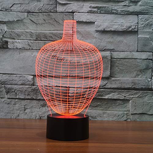 LZGPZXYD 3D-acryl, gekleurd, getinte bloempot, nachtlicht, creatief nachtlampje, vorm fles, tafellamp voor binnen Touch Switch