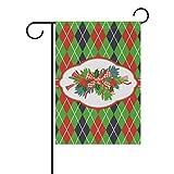 FAJRO Weihnachtsflagge Stewart, Tartan-Muster, Gartenflagge für Garten, doppelseitig, Polyester, 1, 28x40(in)