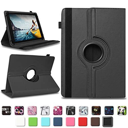 Tablet Schutzhülle für Medion E6912 aus hochwertigem Kunstleder Hülle Tasche Standfunktion 360° Drehbar kombiniert Schutz & Design in verschiedenen Farben Cover Hülle Universal , Farben:Schwarz