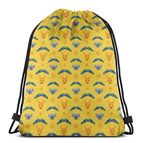 LLiopn Drawstring Sack Backpacks Bags,Australian Aboriginal Pattern Stylized Boomerang Figures and Koala Bear Animal,Adjustable.,5 Liter Capacity,Adjustable.