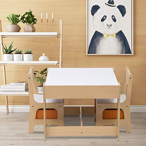 eSituro Children Table and Chair Sets Wooden Kids Playing Desk with 2 Chairs with 3 Storage Space Removable White or Black Table Top