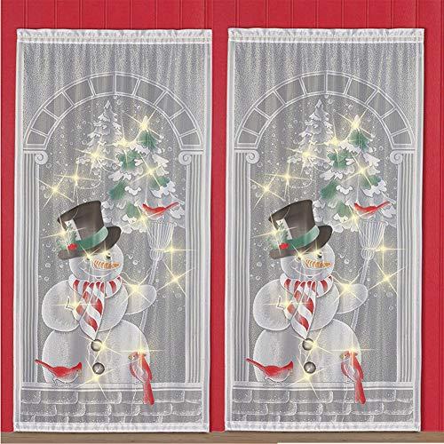 DishyKooker 2 Piezas Cortinas de Navidad Papá Noel Impresión de Renos Cortinas Impresas para Sala de Estar...