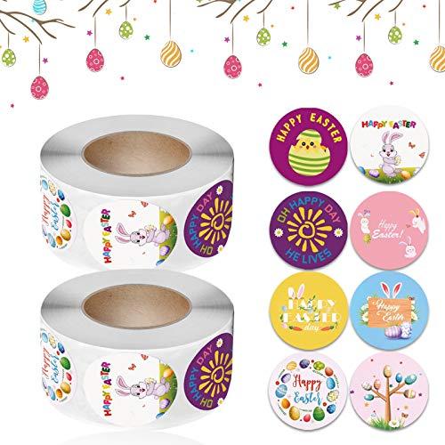 Easter Sticker Roll,Oster Kinder Aufkleber,Benutzt für Basteln Deko Verpackung Selbstklebende Etiketten Geschenkaufkleber (L108)