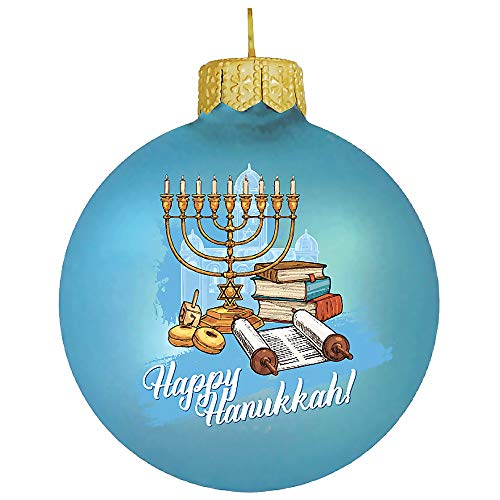 Books.And.More Hanging Ornaments for Christmas Hand-Painted Blue Torah Hanukkah Glass Ball Ornament 3.2-inch Christmas Tree Decor