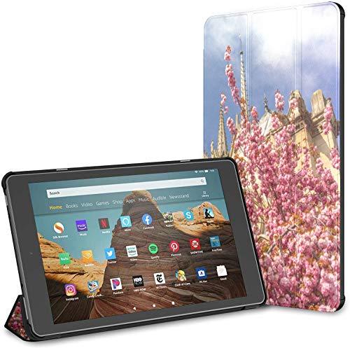 Funda para Tableta Notre Dame De Paris Spring View Fire HD 10 (9a / 7a generación, versión 2019/2017) Funda para Tableta Fire HD 10 Kindle Fire Protector Funda Auto Wake/Sleep para Tableta de 10.1