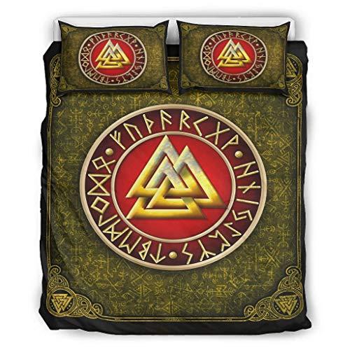 Generic Branded Bedding Set Viking Rune Valknut Golden All-Season&Soft Comforter Cover(1 Quilt Cover&2 Pillowcases) Wrinkle white 104x90 inch