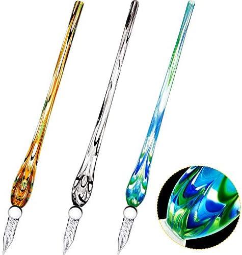3 Pieces Handmade Glass Dip Pen High Borosilicate Crystal Glass Pen Calligraphy Signature Pen product image