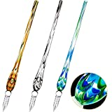 3 Pieces Handmade Glass Dip Pen, High Borosilicate Crystal Glass Pen Calligraphy Signature Pen for Writing Drawing Decoration, 3 Colors