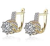 Pendientes Regalo para ella, aretes de moda para Mujer, chapado en oro, clip de oreja de circonio cúbico para mujeres con cristales y aro Lo mejor para joyería de regalo
