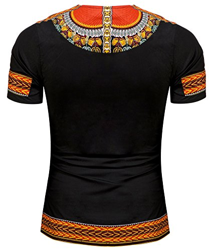 Shenbolen Men's African Print Shirt Dashiki Fashion T-Shirt Tops (Small, A)