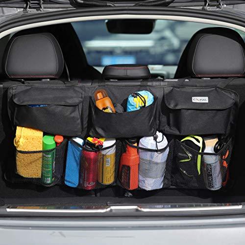 COOFULL Organizador de maletero de coche – Bolsa de gran capacidad para colgar el coche con 7 bolsillos ampliados, 2 palos mágicos largos, bolsa de almacenamiento para maletero de coche, color negro