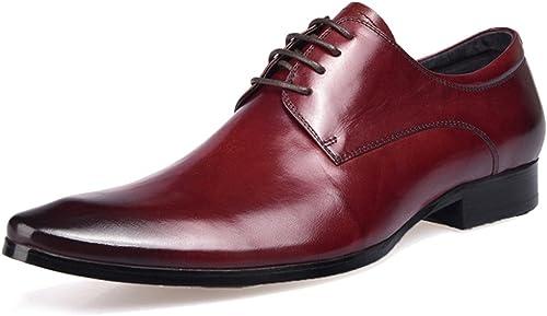MERRYHE Chaussures Formelles d'affaires pour Les Hommes Chaussures à à Lacets en Cuir Véritable à Bout Pointu Derby Work Party Chaussures De Mariage  confortablement